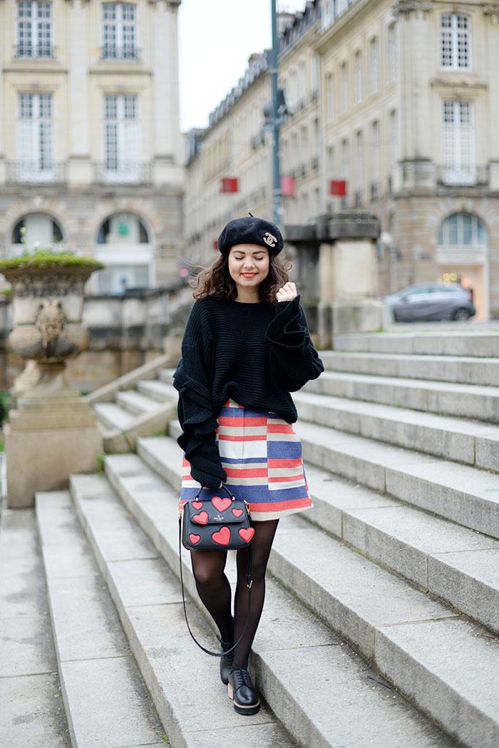 9+blog+mode+rennes+juliettekitsch+tenue+du+jour+ootd+beret+chanel+brooch+jupe+urban+outfitters+sac+kate+spade+derbies+subtle+pull+not+your+girl+shop